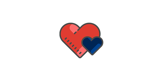red heart with blue heart icon