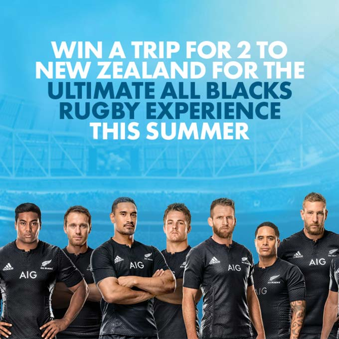 Win a trip for 2 to New Zealand for a All Blacks Rugby Experience